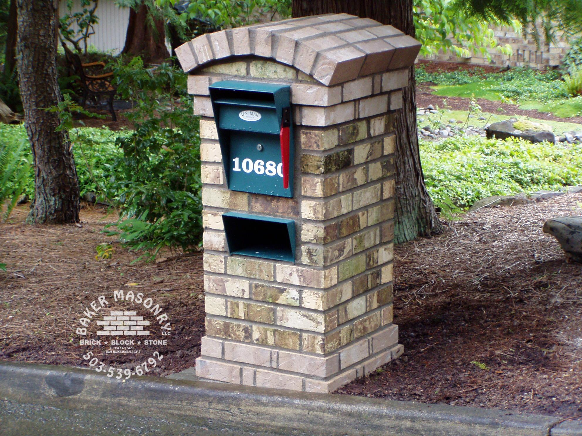 Stone Mailbo Brick Baker Masonry Portland Oregon